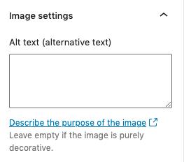 Screenshot of the Alt text field in the WordPress Inspector Panel.